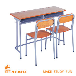 Simple Design Double Seats Table and Chair for High School pictures & photos