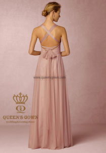 Sexy A-Line Chiffon Floor-Length Bridesmaid Dress with Hollowed Back pictures & photos
