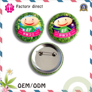 Custmo Print Tin Metal Button Badge with Safety Pin Ppmaterial SGS pictures & photos