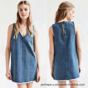 Ladies V-Neck Denim Dress with Raw Edges on Hemline pictures & photos