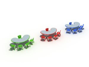 Kaiqi Children′s Table and Chairs - Bean Shape - Many Colours Available (KQ50168A) pictures & photos
