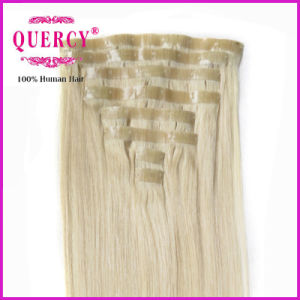 New Arrival Best Selling Factory Wholesale Price No Tangle No Shedding PU Skin Weft Clip in Hair Extension pictures & photos