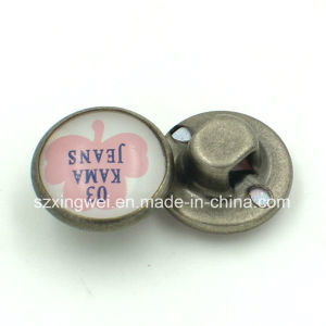 Custom Logo Pearled Metal Brass Shank Button for Jacket pictures & photos