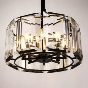 European Restaurant Decorative Iron Round Transparent Crystal Pendant Lamp pictures & photos
