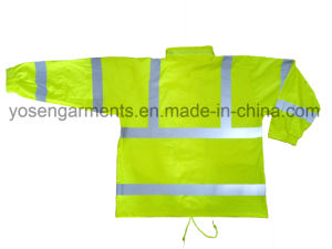 Adult′s PU Reflective Safety Clothing Protective Apparel Waterproof Jacket Hiviz Workwear pictures & photos