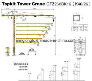 Qtz260bk16 (K40/26) Topkit Tower Crane-16t pictures & photos