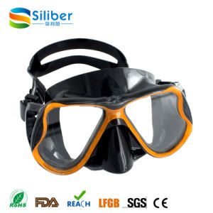 Scuba Choice Scuba Diving Spearfishing Free Dive Low Volume Black-Golden Silicone Mask pictures & photos