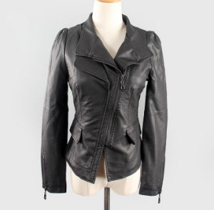 Fashion Cultivate One′s Morality Fake Leather Shorts Jacket Puj0719 pictures & photos