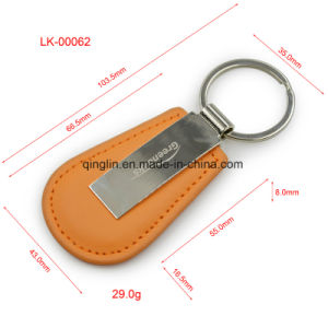 Blank Simple PU Keychain with Key Ring pictures & photos