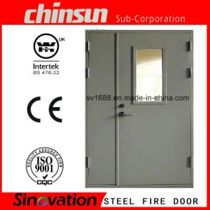 Double Steel Fire Door with Glass with BS and UL Certificate pictures & photos