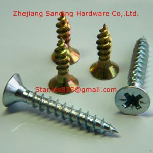Double Flat Head Harden Yellow Zinc Plated Chipboard Screw pictures & photos