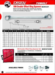 DIN Double Offset Ring Spanner pictures & photos
