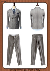 Double Breasted Tailored Men Light Grey Business Suits