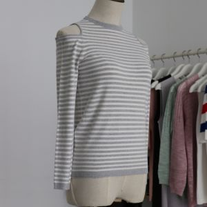 Lady Dew Shoulder Fashion Sweater with Long Sleeves and Half Back Zipper pictures & photos