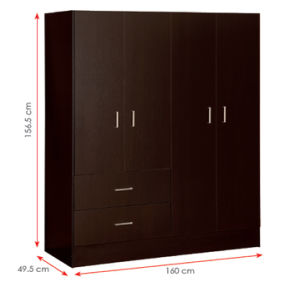 MDF Laminated Wooden Wardrobe (HX-DR337) pictures & photos