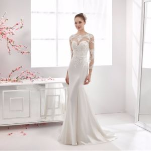 3/4 Sleeves Bridal Gowns Mermaid Lace Satin Wedding Dress Ht1029 pictures & photos