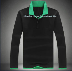Long Sleeve Men′s Polo T Shirt Black pictures & photos