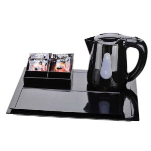 Hotel Black 0.8L Plastic Electric Kettle with Melamine Trays pictures & photos