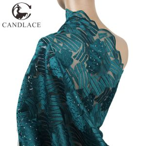 Teal Color African Embroidery Lace Fabric for Wedding Dress pictures & photos