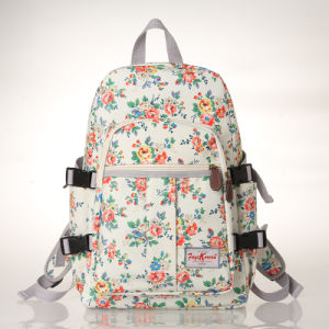 Waterproof PVC Canvas Floral Patterns White Backpack (23262)