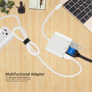 USB3.1 Type-C to HDMI+USB3.0+Type C Female Port (For charging) Multifunction Cable Adapter pictures & photos