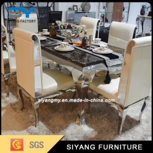 Good Price Stainless Steel Frame Marble Dining Table pictures & photos