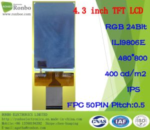 4.3 Inch IPS 480X800 RGB 50pin Customized 400CD/M2 Full View LCD Panel pictures & photos