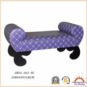 Wooden Patterned PU Print Ottoman Loveseat Bench pictures & photos