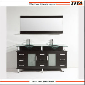 Large Chinese Bathroom Vanity Cabinet Glass Basin Furniture pictures & photos