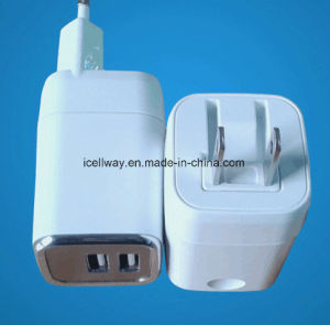 Dual USB Folding Plug Travel Charger with Us/EU Plug pictures & photos