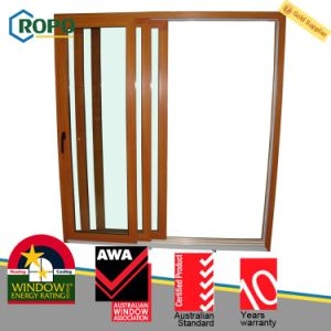 Woodgrain UPVC Double Panels Sliding Door with Double Glazed pictures & photos