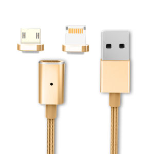 2 in 1 Magnetic USB Cable, Micro 5 Pin Plus iPhone 8 Pin, G3 Magnet Charger and Data Cable
