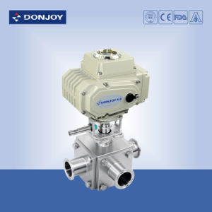 Sanitary Ss 304 3-Ports Ball Valve with Horizontal Actuator pictures & photos