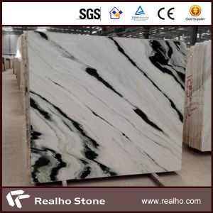 Book Matched Polished Panda White Marble for Lobby/Drawing Room Background Wall pictures & photos
