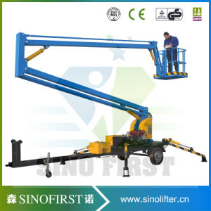 8m 10m Electric Hydraulic High Quality Simple Trailing Trailed Boom Lift pictures & photos