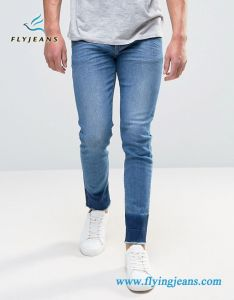 Frayed Hem Blue Spandex Men Skinny Denim Jeans pictures & photos