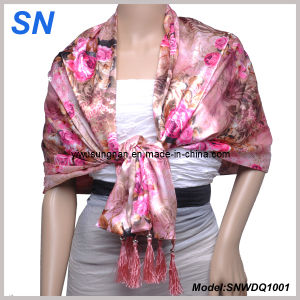 Double Layer Flower Satin Scarf (SNWDQ1001) pictures & photos