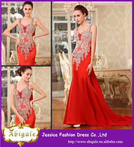 Fashionable Floor Length Sheath Red Appliqued Famous Designer Evening Dresses pictures & photos
