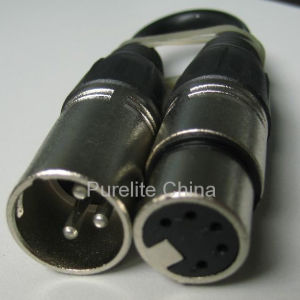 DMX Cable 3pin (F) to 5pin (M) signal Converter pictures & photos