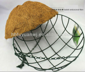 Powder Coated Steel Hanging Basket with Coconut Fabric for Flower pictures & photos