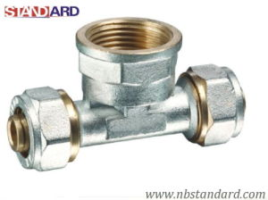 Pex-Al-Pex Fitting/Brass Tee with Female Thread Screw Fitting for Pex-Al-Pex Pipe pictures & photos