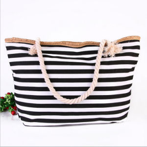 The New Female Package Beach Bag Shoulder Bag Summer New Navy Striped Canvas Beach Bag Shopping Bag pictures & photos
