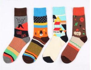 Custom Fashion Knee High Jacquard Cotton Sock pictures & photos
