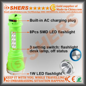 Rechargeable 1W LED Flashlight with 8PCS LED Desk Lamp (SH-1916) pictures & photos