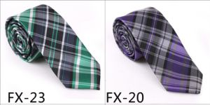 New Design Fashionable Silk/Polyester Check Necktie (Fx-123) pictures & photos