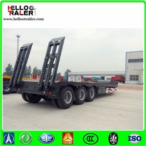 13m 60ton 3axle Hydraulic Gooseneck Low Bed Truck Semi Trailer pictures & photos