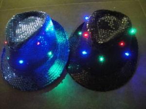 LED Headwear, Headwear, 10 LED Fedora Hat (blue/black) (919A-1)