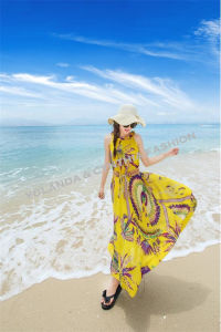 Fashion Printed Chiffon Long Dress/Beach Dress/Ladies Dress