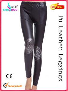 Fashion Lady Sexy PU Leather Leopard Print Leggings Women Pants Fabric Clothing Pantyhose Tights (SR-2006)