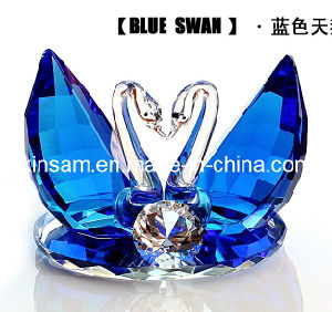 Blue Double Crystal Glass Swans Craft for Wedding Gifts pictures & photos